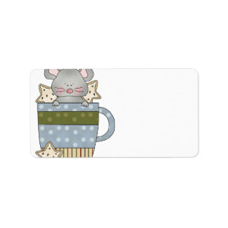 christmas cookies and mouse mug cup custom address labels