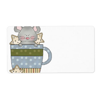 christmas cookies and mouse mug cup shipping labels