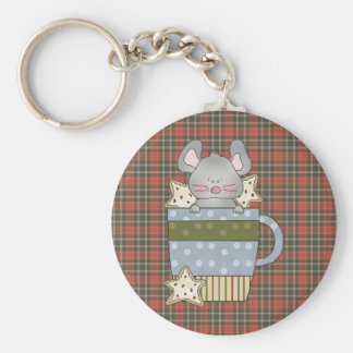 christmas cookies and mouse mug basic round button keychain