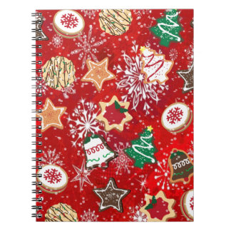 Christmas Cookies and Snowflakes on Red Notebook