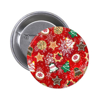 Christmas Cookies and Snowflakes on Red Pinback Button