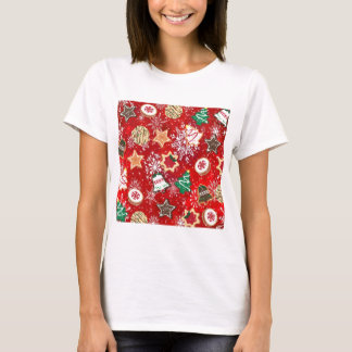 Christmas Cookies and Snowflakes on Red T-Shirt