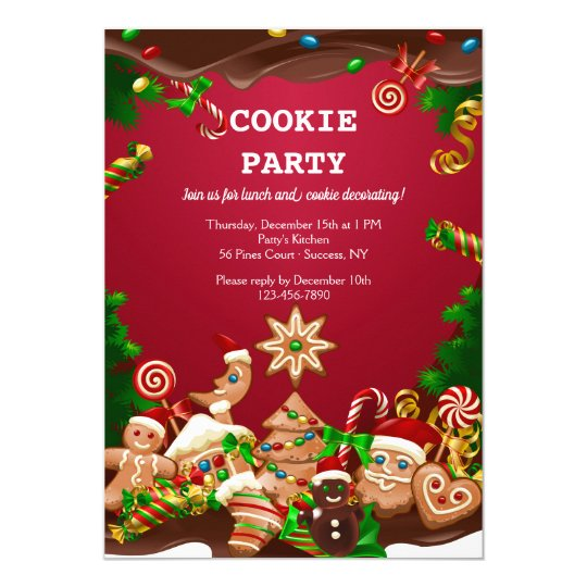 Christmas Cookie Party Invite.Christmas Cookies Decorating And Exchange Invitation
