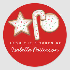 Christmas Cookies From The Kitchen Sticker Red at Zazzle