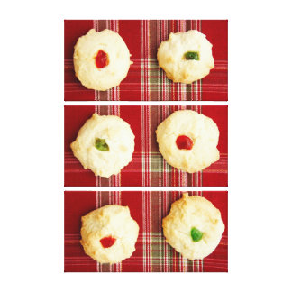 Christmas Cookies on Plaid 2 Wrapped Canvas
