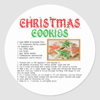 Christmas Cookies Recipe Classic Round Sticker