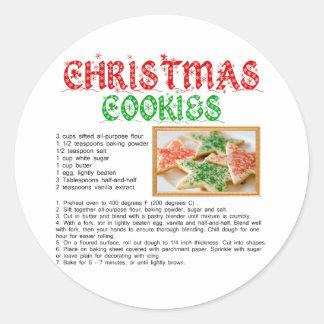 Christmas Cookies Recipe Classic Round Sticker