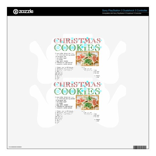 Christmas Cookies Recipe Decal For PS3 Controller