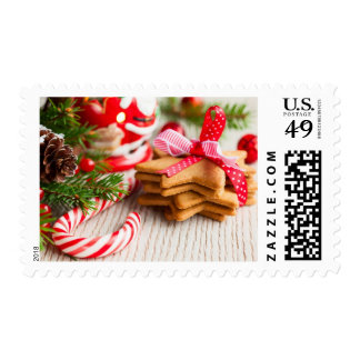 Christmas cookies with festive decoration stamp