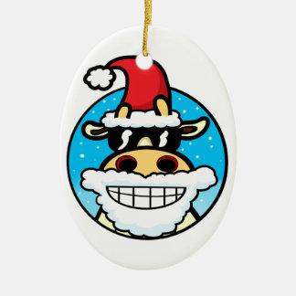 Christmas Cool Cow Ceramic Ornament