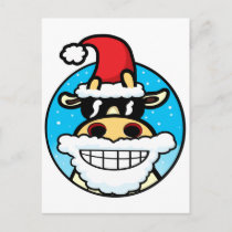 Christmas Cool Cow Holiday Postcard