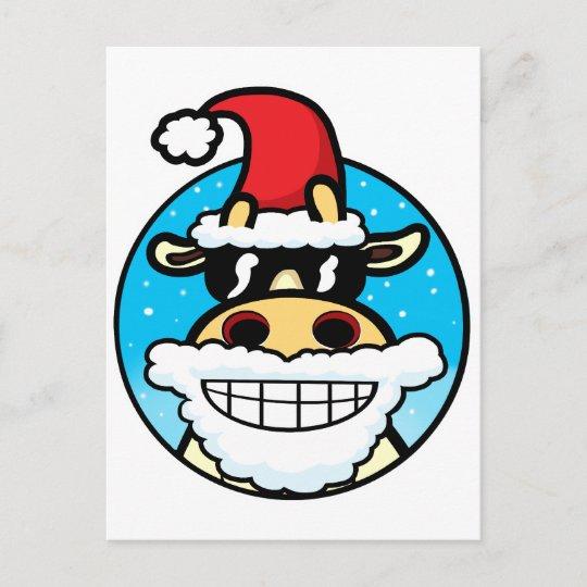 Christmas Cool Cow Holiday Postcard