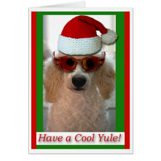 Christmas Cool Yule Poodle With Santa Hat Card