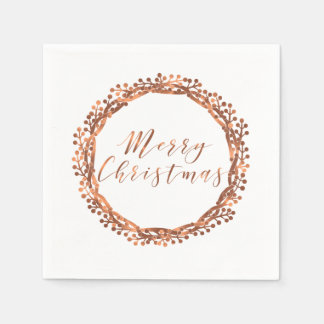 Christmas copper-look berry wreath custom design napkin