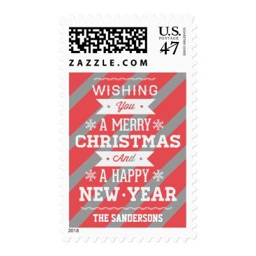 Christmas Themed Christmas Coral Gray Candycane Stripes Postage