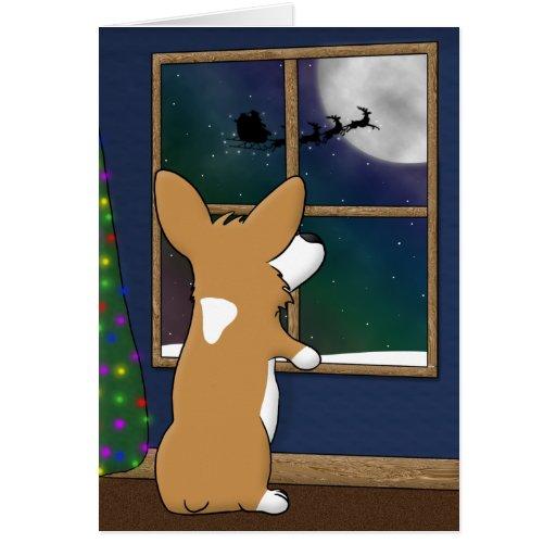 Christmas Corgi at Window Card