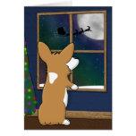 Christmas Corgi at Window Christmas Card