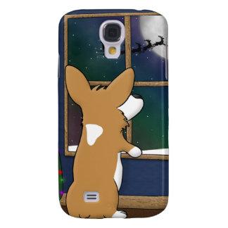 Christmas Corgi at Window iPhone 3 Case