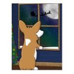 Christmas Corgi at Window Postcard