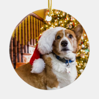 Christmas Corgi Ceramic Ornament