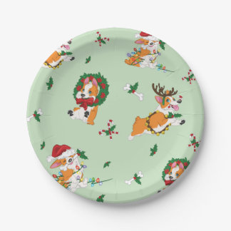 Christmas Corgi Paper Plates 7 Inch Paper Plate