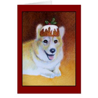 Christmas Corgi Plum Pudding Card