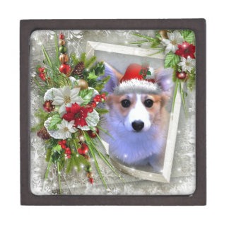 Christmas Corgi Puppy in White Frame Jewelry Box