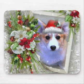 Christmas Corgi Puppy in White Frame Mouse Pad