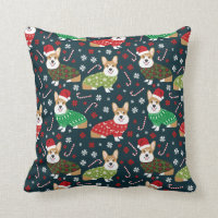 Christmas Corgi Throw pillow - xmas christmas dog
