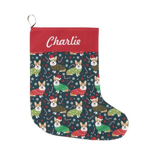 Christmas Stockings For Dogs.Christmas Corgis Stockings Personalized Dog