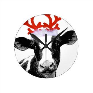 Christmas Costume Dairy Cow Round Clock