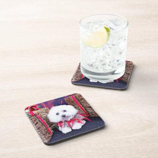 Christmas - Coton de Tulear - Cozy Beverage Coasters