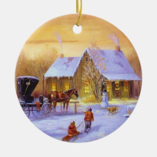 Christmas Cottage Ceramic Ornament
