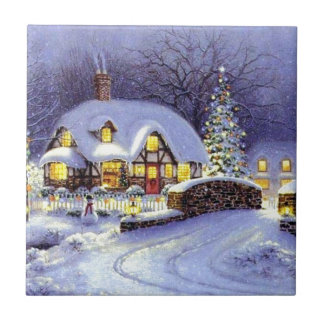 Christmas Cottage Ceramic Tile