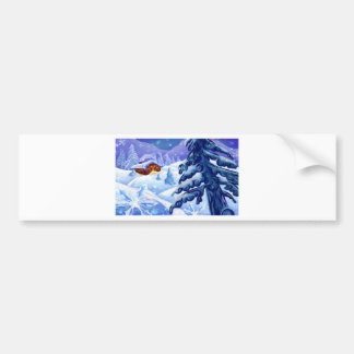 Christmas Cottage In The Snow Pines Bumper Sticker