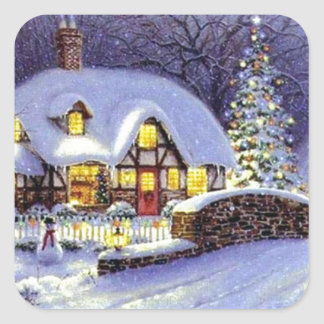 Christmas Cottage Sticker