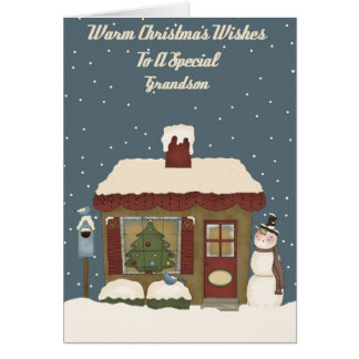 Christmas Cottage To A Special Grandson Card