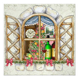 Christmas Cottage Window Invitation - SRF