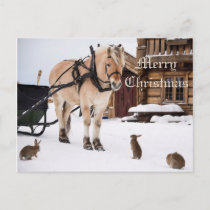 Christmas country farm idyll animal talk friends holiday postcard