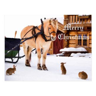 Christmas country farm idyll animal talk friends postcard