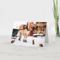 Christmas country farm idyll outdoor in snow holiday card