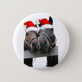 Christmas Country Horses Button