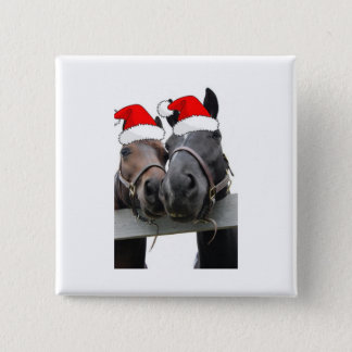Christmas Country Horses Pinback Button