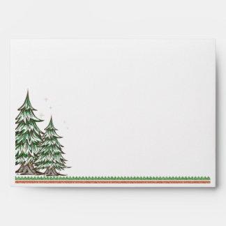 Christmas Country Pine Tree Customizable Envelope
