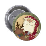 Christmas Country Santa Claus 2 Inch Round Button