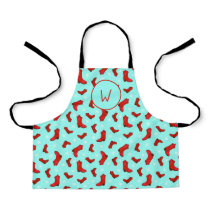 Christmas Country Western Cowgirl Cowboy Boots Apron