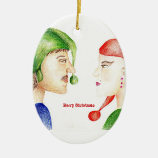 Christmas Couple Ceramic Ornament