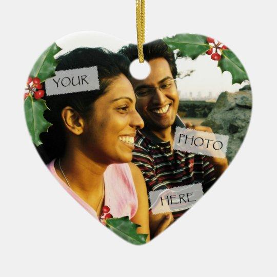 Christmas Couple Heart Photo Ornament