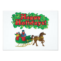 Christmas Couple in a Sleigh Invitation
