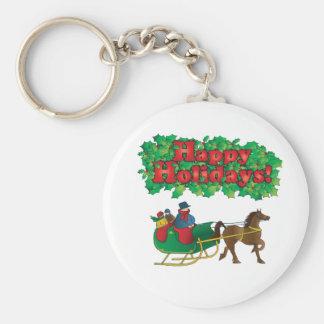 Christmas Couple in a Sleigh Keychain